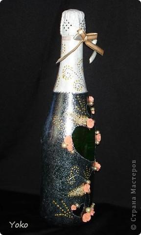 Продолжаю подготовку к свадьбе сестры. Хочу представить вам мою первую свадебную бутылочку. фото 3
