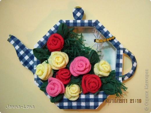 """Чайник """"Белиссимо"""" Цветы из салфеток. фото 1"""