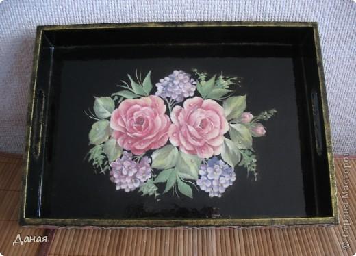 """Поднос """"Чайные розы"""" фото 4"""