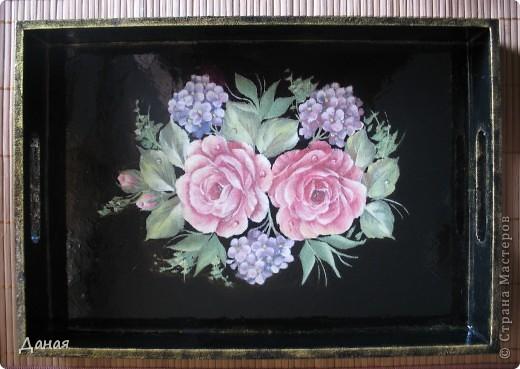 """Поднос """"Чайные розы"""" фото 2"""