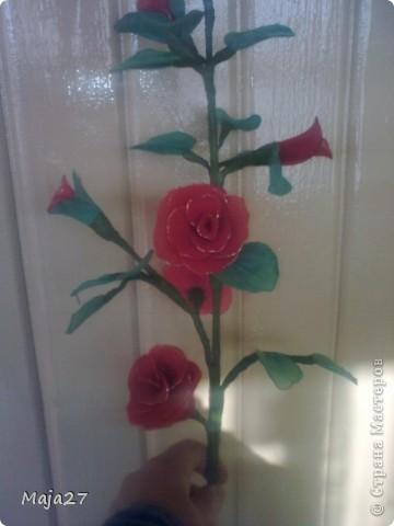 Попробовала сделать цветы из капрона. фото 7
