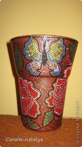 Ваза с паутинкой. Стеклянную вазу обезжирила и покрыла краской из баллончика. фото 5
