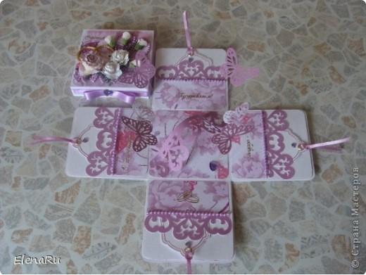 """Соседка заказала подарочную коробочку  для денег на свадьбу. Бумагу выбирала сама заказчица. Но очень ей хотелось, чтобы бабочки вылетали! Получилась миленькая коробочка-фотоальбом, двухслойная, с бабочками из разряда: """"ТАК жалко отдавать!!!"""" Вот смотрите!!! фото 3"""