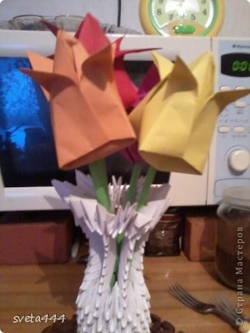 Вазочка с цветочками:) Делала маме на 8 марта,а сфоткала только сегодня. фото 2