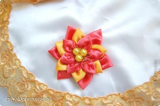 Вот такие у меня получились платочки для свечей на венчание,цвета пришлось подобрать под сами свечи,поэтому так ярко фото 3