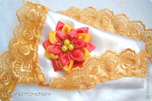 Вот такие у меня получились платочки для свечей на венчание,цвета пришлось подобрать под сами свечи,поэтому так ярко фото 2