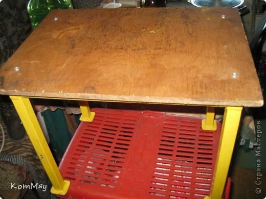 Вот так я преобразила скамеечку, которую мне сделал муж. Назначение скамеечки - сидеть рядом с печкой и подкладывать дровишки... фото 2