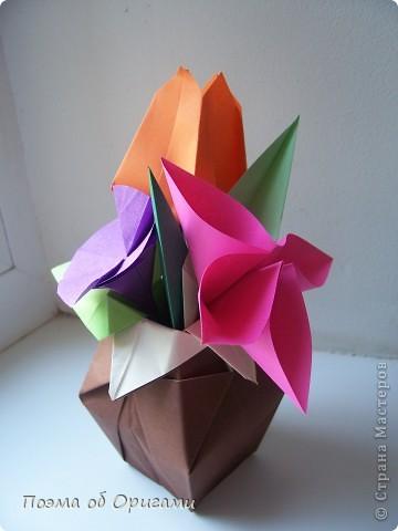 Мастер-класс 8 марта День рождения День учителя Начало учебного года Оригами Ваза с цветами Бумага фото 56