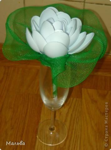 Такую лилию я видела здесь на сайте, но я внесла свою лепту. Зелёный лист вокруг цветка придумала я.  фото 2