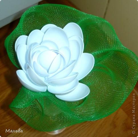 Такую лилию я видела здесь на сайте, но я внесла свою лепту. Зелёный лист вокруг цветка придумала я.  фото 1