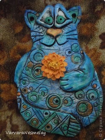 Сюреалистический котейка) Сине-зеленый с оранжевой хризантемой))))) По заказу сестрички) фото 2