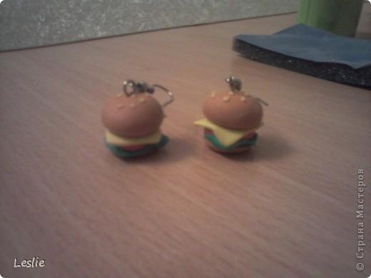 1.Делала подарки на дни рождения друзья!Это чизбургеры. Вторые мои серёжки фото 1