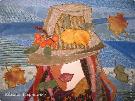 """Картина из ткани 30х40   """"Бабье лето""""  лоскутная техника аппликация. (картина находится в частной коллекции) фото 1"""
