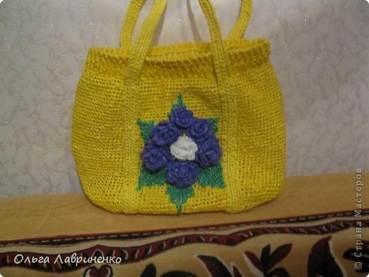 Желтая сумка из полиэтиленовых пакетов фото 1