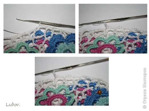 Легкий воздушный берет с красочными цветами, придаст вам женственный летний образ. Ирландское кружево с красивыми цветочными элементами, соединенными хаотичной нерегулярной сеточкой, требует определенного мастерства,  данная модель берета представляет прекрасную возможность для начала освоения этой техники вязания. фото 25