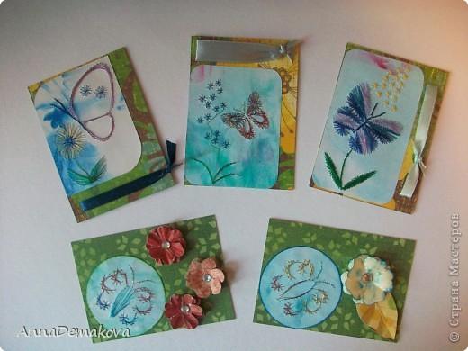 """2. 1.Серия  """"Бабочки """".  10 карточек.  Три карточки уже заняты, потому что делала по требованию девченок."""