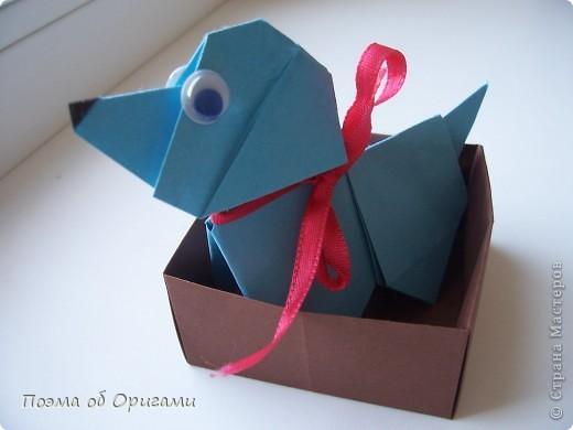 Наш сказочный щенок будет жить в корзинке сложенной в технике оригами, как и он сам.  Идея его создания забавного песика принадлежит Эдвину Кови, а вот корзинку придумал Альдо Патиниьяно. фото 2