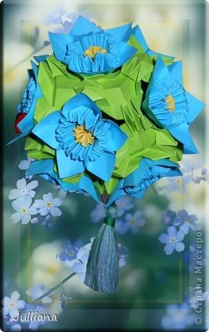 Как сделать цветок незабудка из бумаги 161