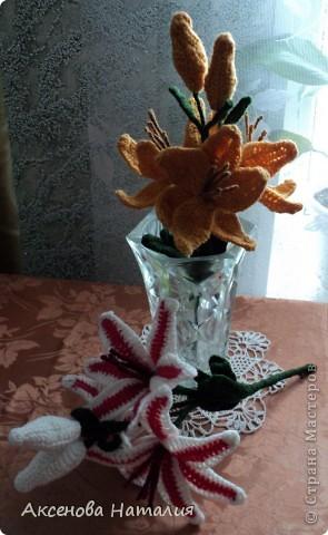 Вязаные лилии фото 5