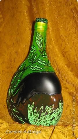 """""""Охота"""" Попала мне в руки вот такая бутылка. Пантера на ней уже была,поэтому и родилась такая тема. фото 3"""