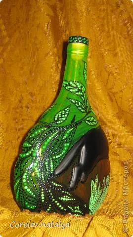 """""""Охота"""" Попала мне в руки вот такая бутылка. Пантера на ней уже была,поэтому и родилась такая тема. фото 5"""