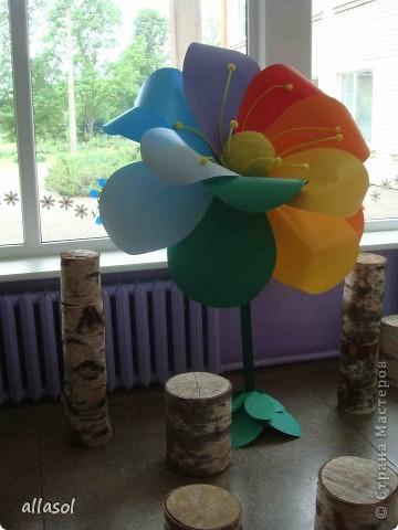 В субботу в школе был выпускной для 9 классов. Вот такой волшебный цветок мы сделали в подарок школе.  Сейчас он стоит в вестибюле.  фото 5