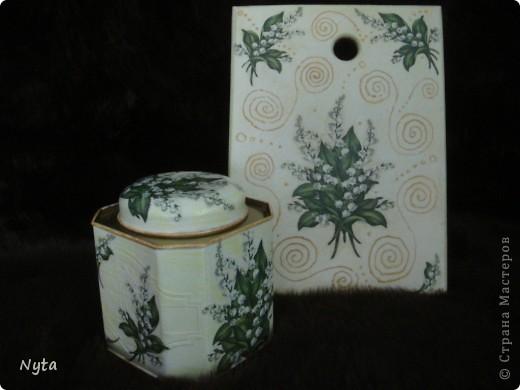 Наборчик (досочка и банка с чаем) в подарок для бабушки. Она очень любит ландыши! ;) фото 1