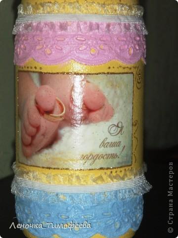"""Бутылочка """"С новорожденным"""". Можно подарить на день рождения малыша. А мы разыгрываем на свадьбе в качестве приглашения на обмывание ножек будущему ребеночку.  фото 4"""