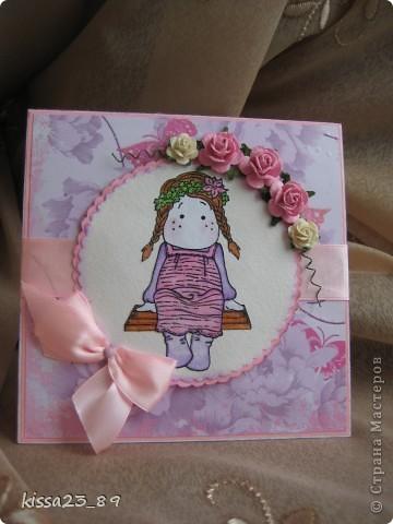 Сделала открыточку для маленькой девочки Софьи. Отрисовку распечатала на принтере и раскрасила акварельными карандашами. фото 1