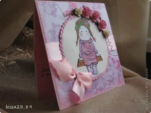 Сделала открыточку для маленькой девочки Софьи. Отрисовку распечатала на принтере и раскрасила акварельными карандашами. фото 2
