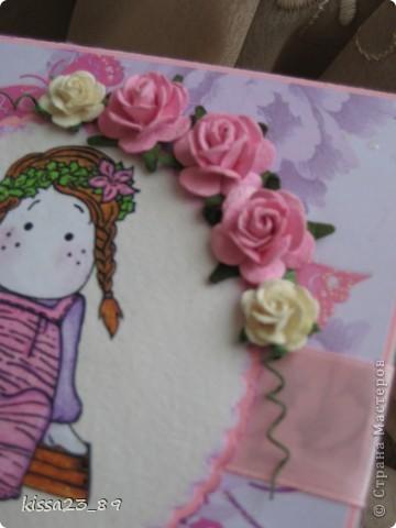 Сделала открыточку для маленькой девочки Софьи. Отрисовку распечатала на принтере и раскрасила акварельными карандашами. фото 3