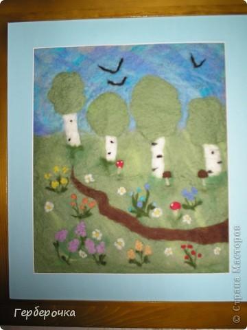 Картина валяная из шерсти мокрым способом фото 2