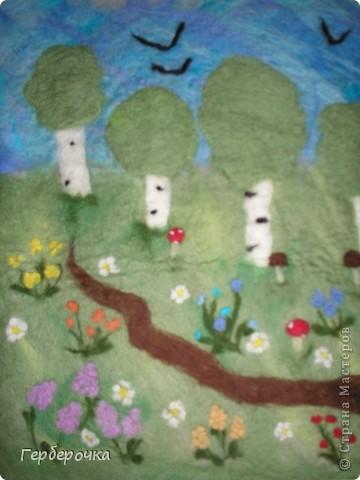 Картина валяная из шерсти мокрым способом фото 3