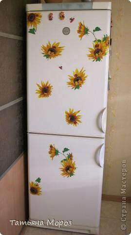 Не знаю, к ак у Вас, а у нас, на Украине цветут .... холодильники!!!!! Такой он был БЕЛЫЙ.... аж противно... и вот, решил зацвести подсолнухами... фото 1