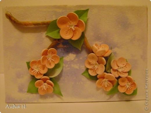 Видела много работ с цветущими яблонями, вишнями, захотелось тоже сделать что-нибудь подобное.  фото 1