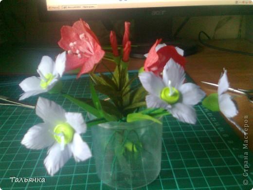 """Эти цветы - часть моей будущей композиции, скоро выложу, а пока... Оцените, пожалуйста. Дорогие мастерицы, может кто-то знает название этих цветов (а может непохоже?), делала, так сказать, с """"натуры"""". фото 1"""