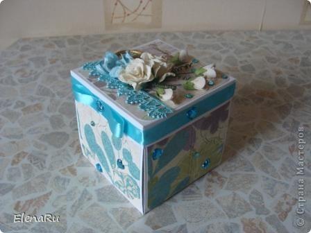 Сходила соседка на свадьбу, подарила свадебную коробочку (http://stranamasterov.ru/node/203315) и когда ее увидели гости, то сразу же захотели еще на одну свадьбу подарить такую же! Клонировала коробочку я полностью, только цвет другой фото 1