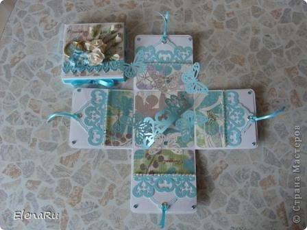 Сходила соседка на свадьбу, подарила свадебную коробочку (http://stranamasterov.ru/node/203315) и когда ее увидели гости, то сразу же захотели еще на одну свадьбу подарить такую же! Клонировала коробочку я полностью, только цвет другой фото 2