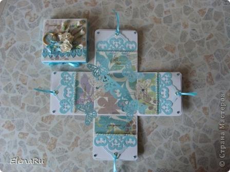 Сходила соседка на свадьбу, подарила свадебную коробочку (http://stranamasterov.ru/node/203315) и когда ее увидели гости, то сразу же захотели еще на одну свадьбу подарить такую же! Клонировала коробочку я полностью, только цвет другой фото 3