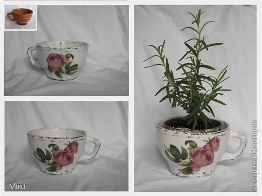 1.Кашпо для цветов из старой чашки. Пробовала стиль шебби-шик.  фото 1
