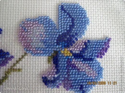 """""""Букет фиалок"""". Увидела дивную вышивку, но цветы решила вышить только бисером. Вот, что получилось. фото 2"""