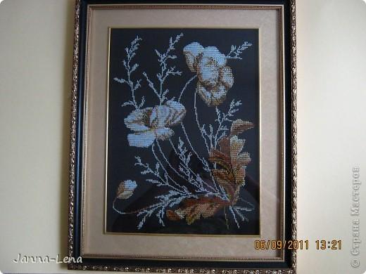 """""""Букет фиалок"""". Увидела дивную вышивку, но цветы решила вышить только бисером. Вот, что получилось. фото 3"""