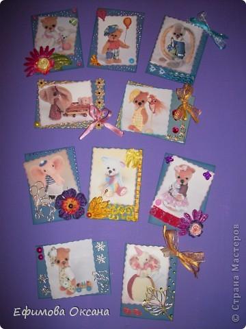 """Остались распечатанные картинки, решила доделать серию """"Мишутки"""". Правда у них появились новые герои. Названия карточкам придумала моя дочурка. Можно сказать, что это наше с ней общее творение. фото 1"""