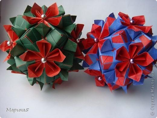 У моей красотки кусудамы Double flower, появилась подружка! Еще одна кусудама Double flower. Автор Мария Синайская. фото 1