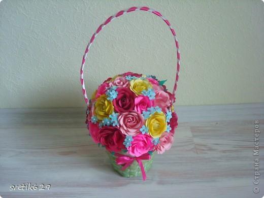 Корзиночку с розами сделала для мамы на день рождение   фото 5