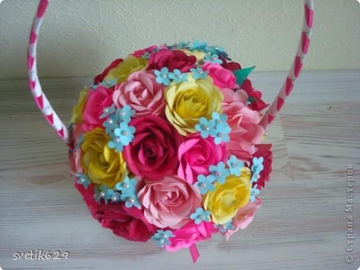Корзиночку с розами сделала для мамы на день рождение   фото 4