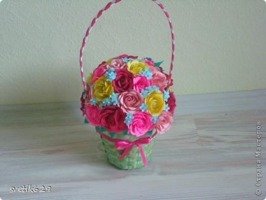 Корзиночку с розами сделала для мамы на день рождение   фото 2