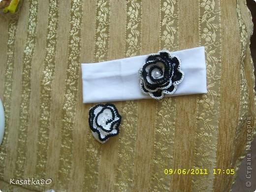 Вязанные украшения повязка + резинка для волос фото 1