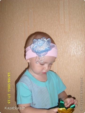 Вязанные украшения повязка + резинка для волос фото 2