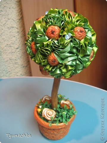 Вот такое вот мандариновое деревце получилось в подарок для любимой подруги. Огромное спасибо Свете-STRENFLEX за подробный МК по созданию подобного деревца и личные советы! фото 1